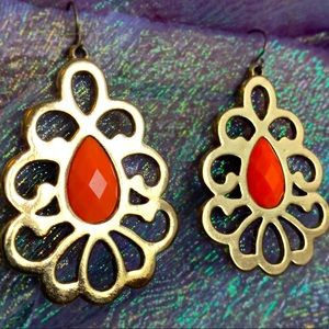 Gorgeous Gold Coral Deco Dangle Earrings